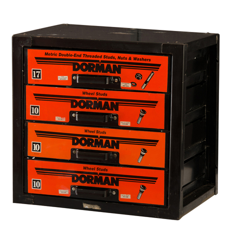 Industrial Black And Orange Dorman Parts Cabinet