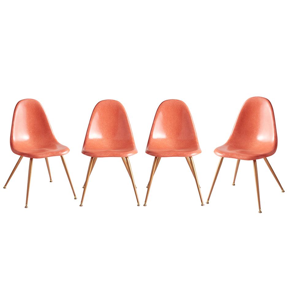 set of 4 pink fiberglass shell chairs by chromcraft rejuvenation