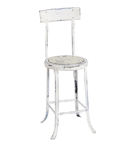 Terrific Rustic White Metal Stool W Wooden Seat Unemploymentrelief Wooden Chair Designs For Living Room Unemploymentrelieforg