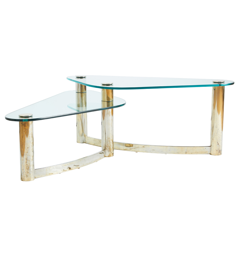Wondrous Brass Glass Boomerang Coffee Table By Pace Evergreenethics Interior Chair Design Evergreenethicsorg