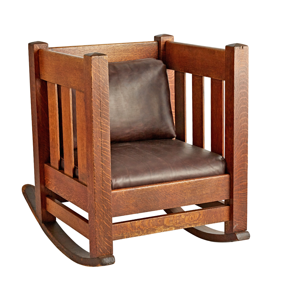 Generating a preview image of your customized product  sc 1 st  Rejuvenation & Arts u0026 Crafts Oak Cube Rocking Chair w/ Leather Upholstery ...