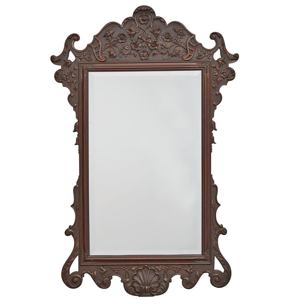 Large Beveled Mirror w/ Ornately Carved Frame by Kittinger ...