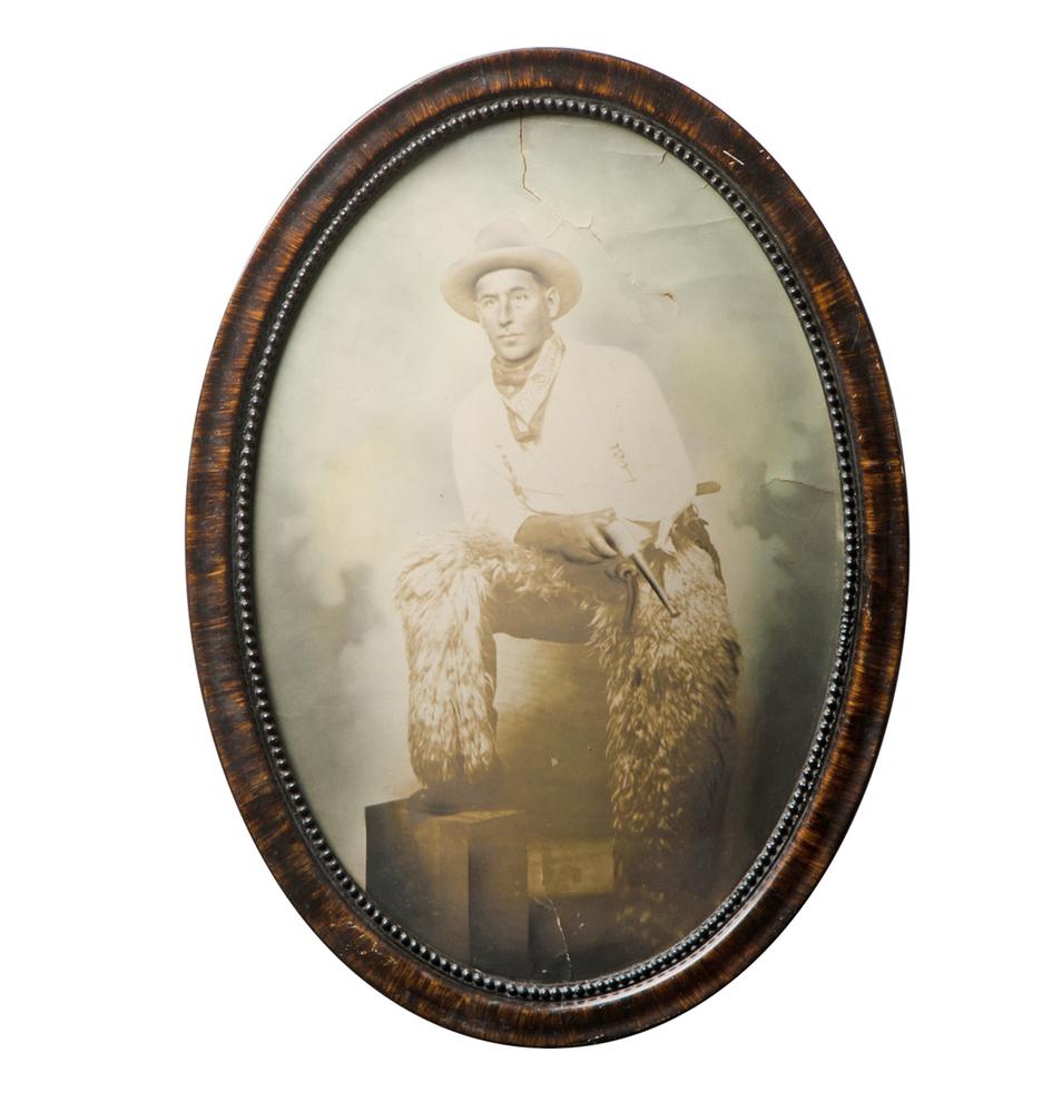 Hand tinted cowboy portrait in convex frame rejuvenation f7854a f7854 jeuxipadfo Images