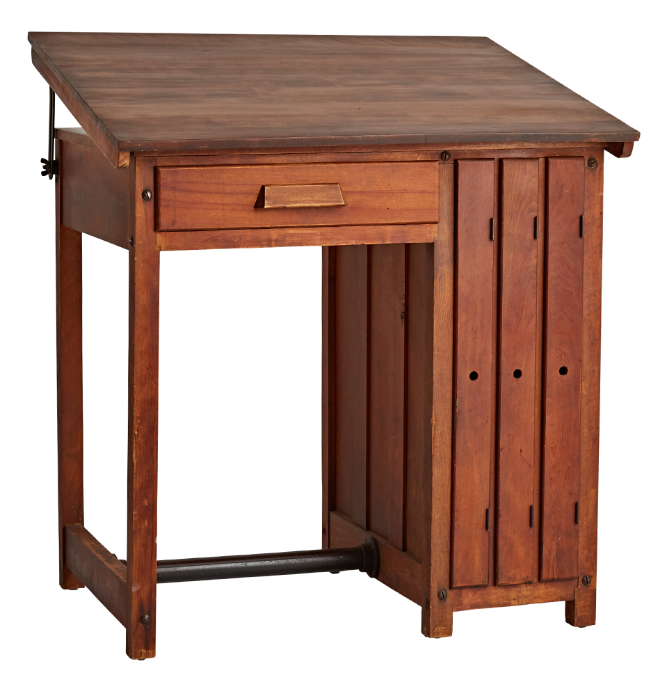 Handsome Maple Drafting Desk W 3 Vertical Shelves