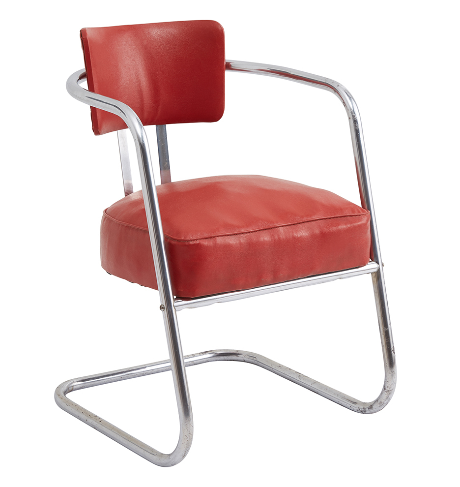 Astonishing Chrome Lounge Chair W Original Red Vinyl Upholstery Spiritservingveterans Wood Chair Design Ideas Spiritservingveteransorg
