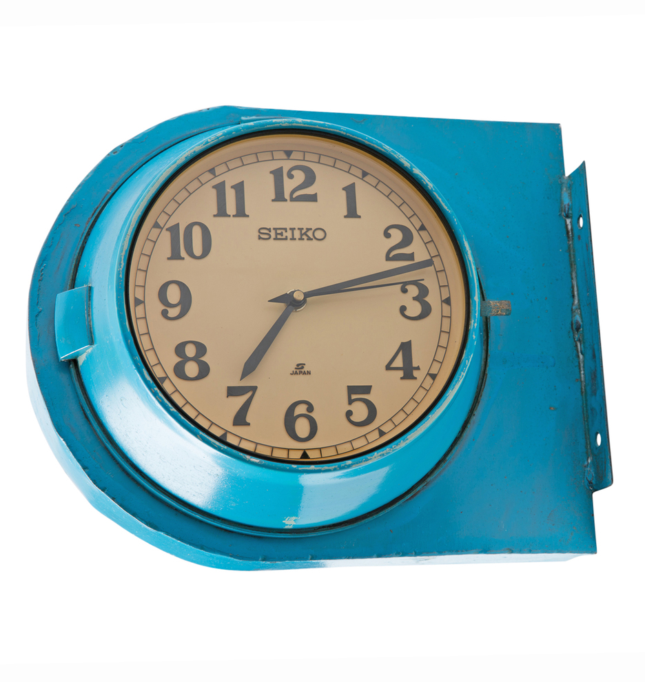 Blue and Yellow Double Sided Naval Clock   Rejuvenation