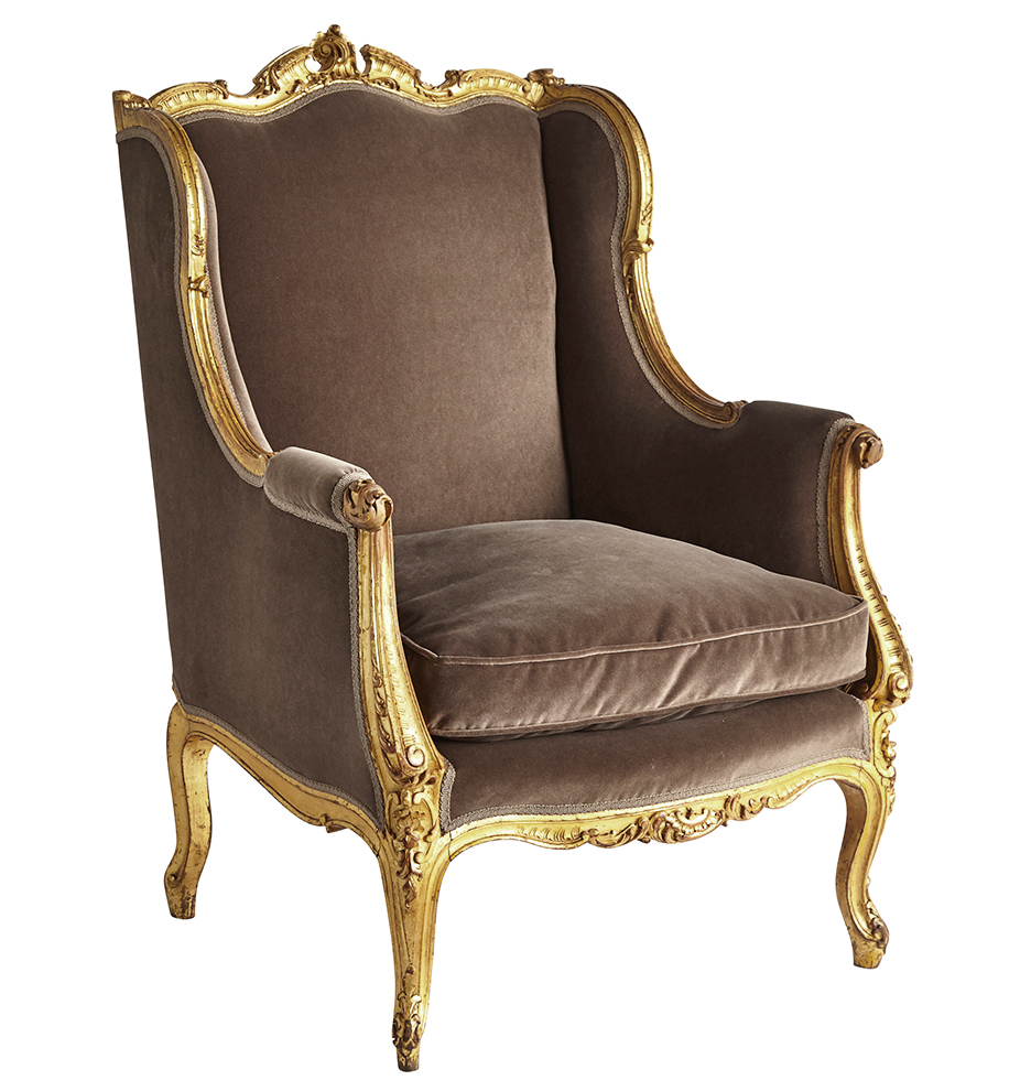 Surprising Louis Xv Rococo Giltwood Armchair W Velvet Upholstery Bralicious Painted Fabric Chair Ideas Braliciousco