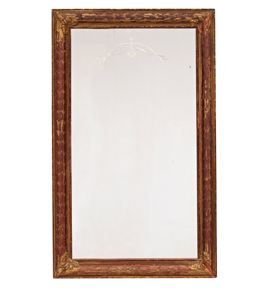 Classical Etched Mirror w/ Ribbon and Laurel Motif | Rejuvenation