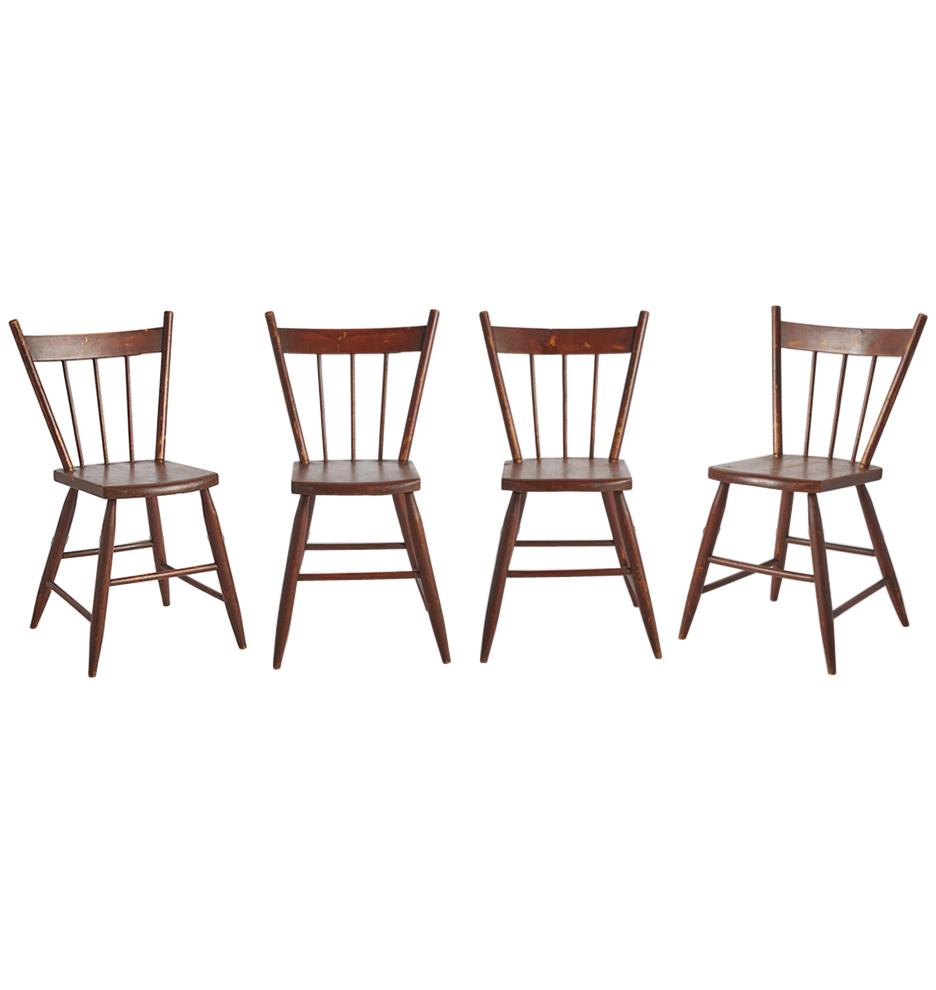 Set of 4 Oak Spindle-Back Kitchen Chairs | Rejuvenation