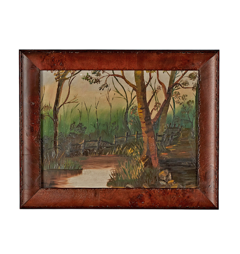 Landscape Painting Of Wooded Pasture W Fence Rejuvenation