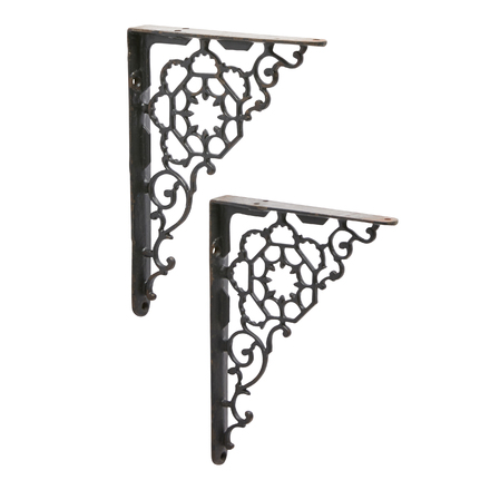 Set of 2 Cast Iron Shelf Brackets New Antique-Style Tubular Rustic 7 x 7 Antiques