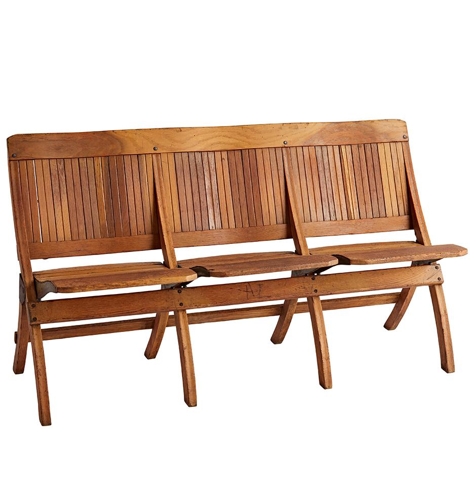 Groovy Solid Oak Slatted Tandem 3 Seat Folding Chairs Creativecarmelina Interior Chair Design Creativecarmelinacom