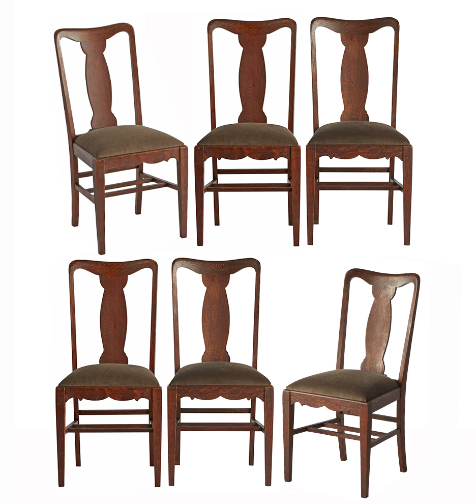 Remarkable Set Of 6 Oak Dining Chairs W Velvet Seats Bralicious Painted Fabric Chair Ideas Braliciousco