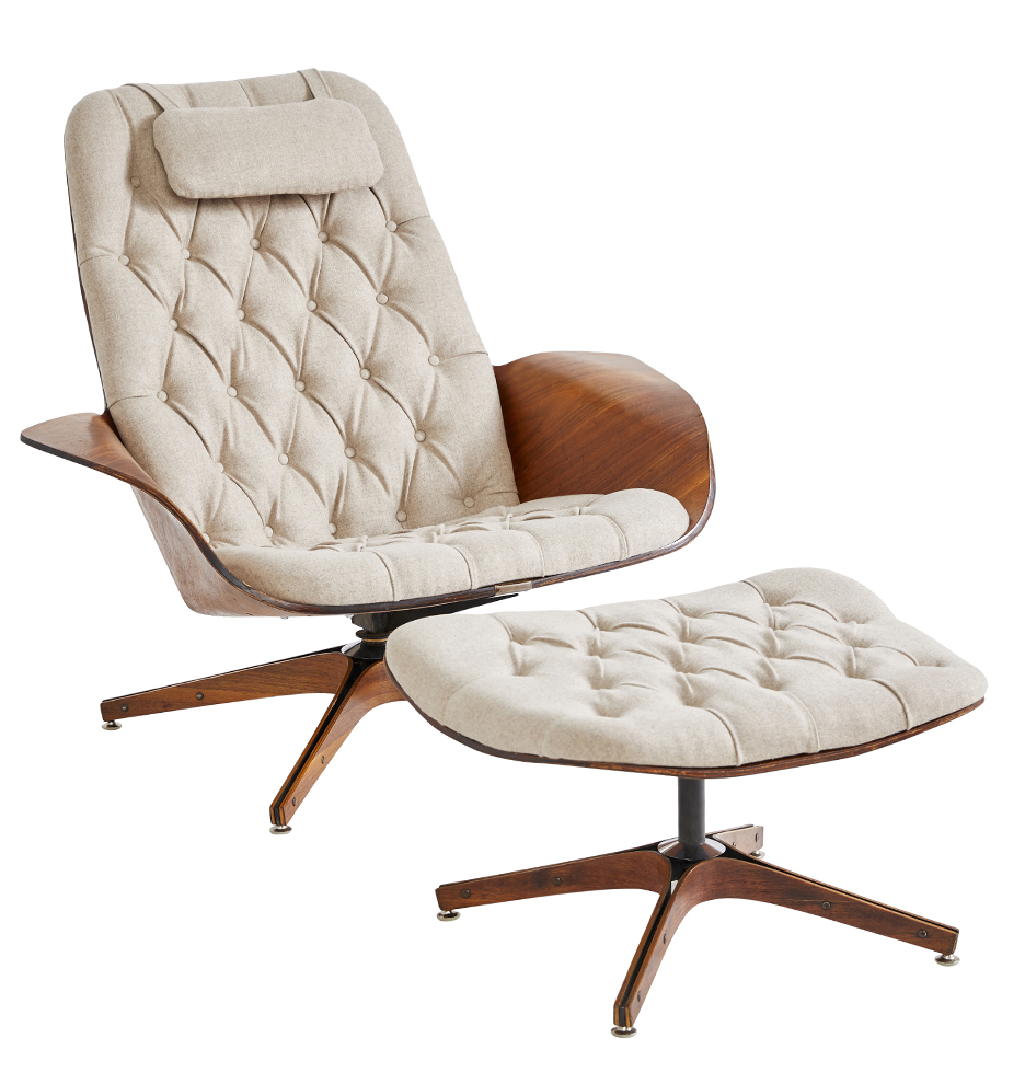 Prime Tufted Wool Lounge Chair W Ottoman By Mulhauser For Plycraft Ibusinesslaw Wood Chair Design Ideas Ibusinesslaworg
