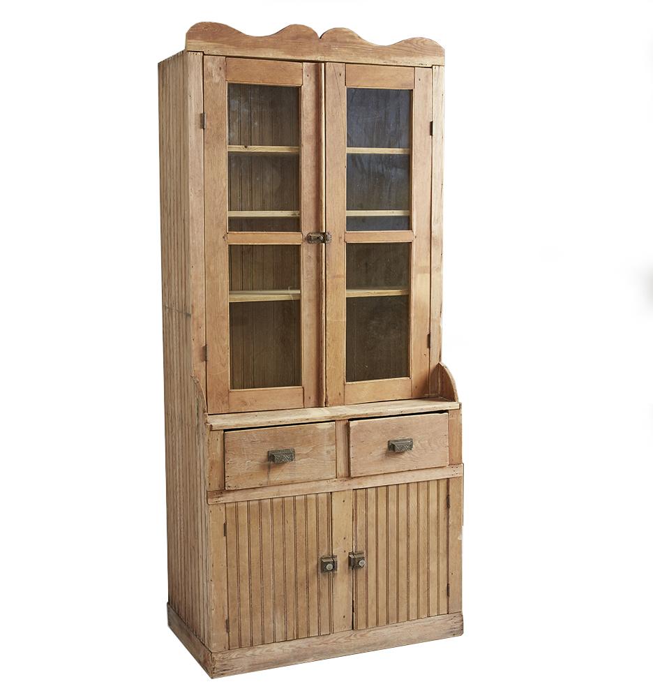 Tall Tambour Pine Floor Cabinet