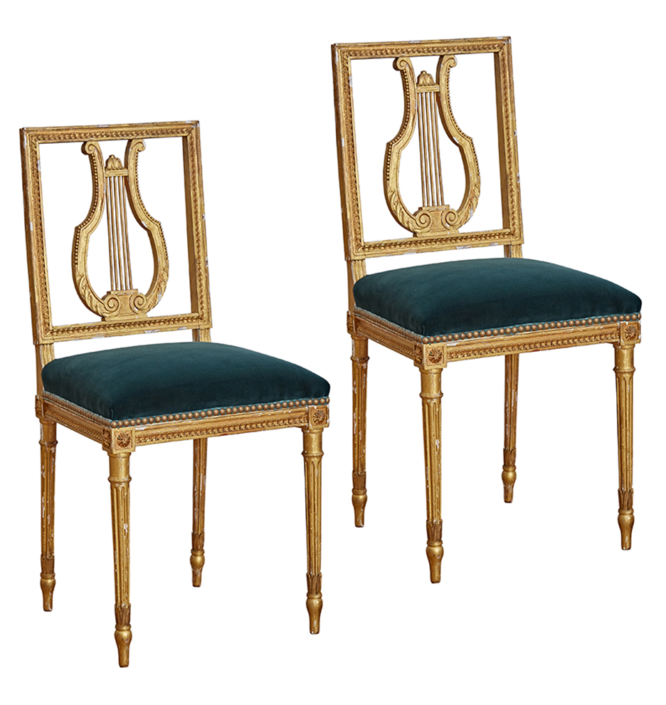 Incredible Pair Of Gilt Louis Xvi Lyre Back Side Chairs W Teal Velvet Caraccident5 Cool Chair Designs And Ideas Caraccident5Info