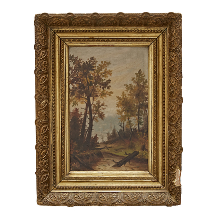ce5b7c78d855 Small Landscape Oil Painting in Original Gilt Frame