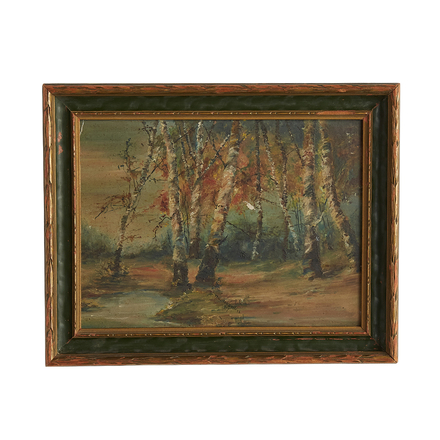 e39d69b24c80 Petite Painting of Forest Scene w  Original Frame