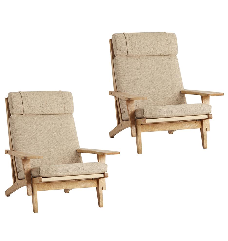 Pair Of Hans Wegner GE 375 Armchairs W Original Wool Upholstery
