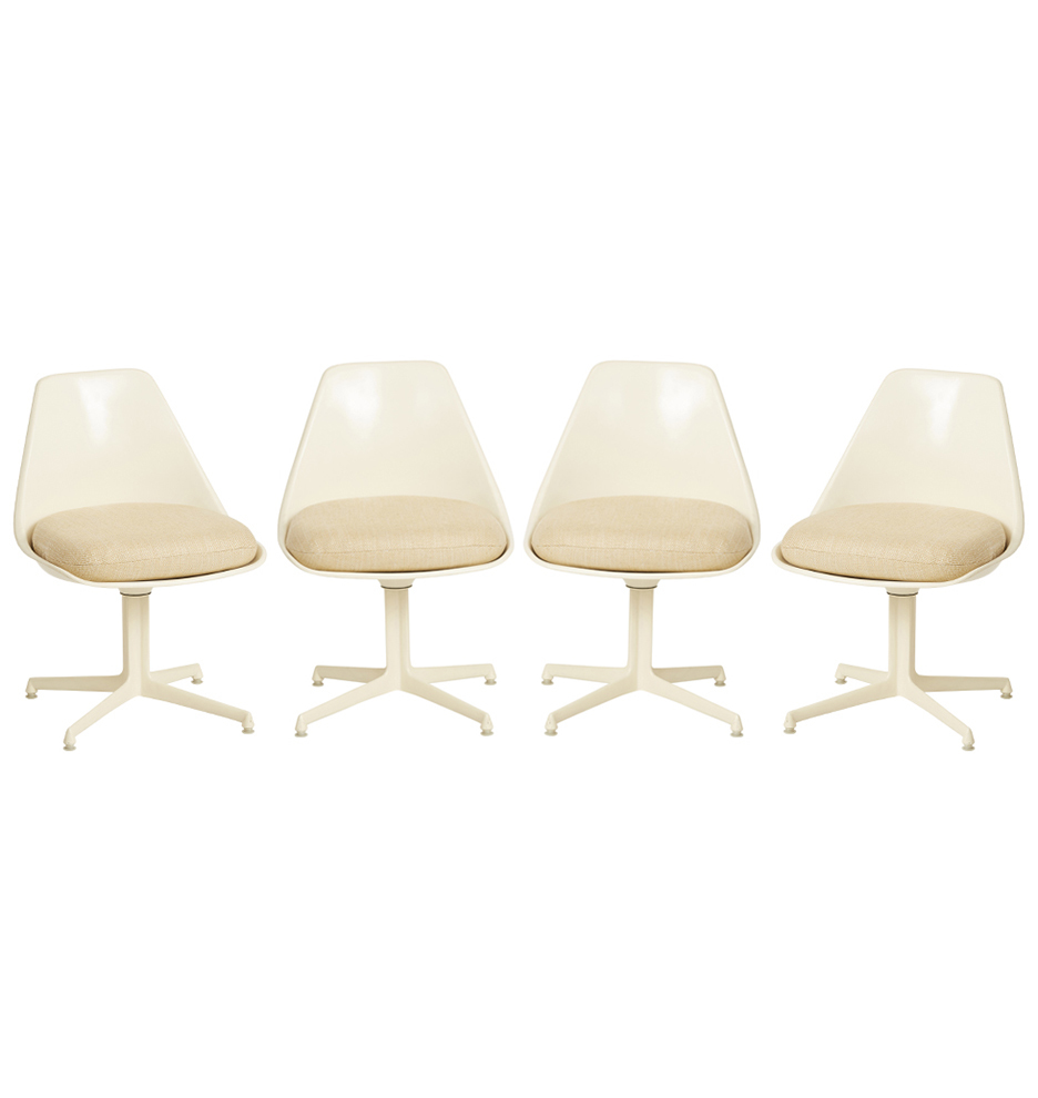 Set Of 4 Modern Tulip Style Dining Chairs By Burke Rejuvenation