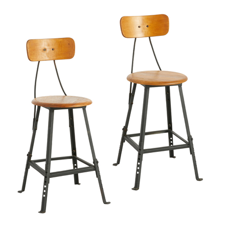 Pair Of Factory Stools W/ Adjustable Bases