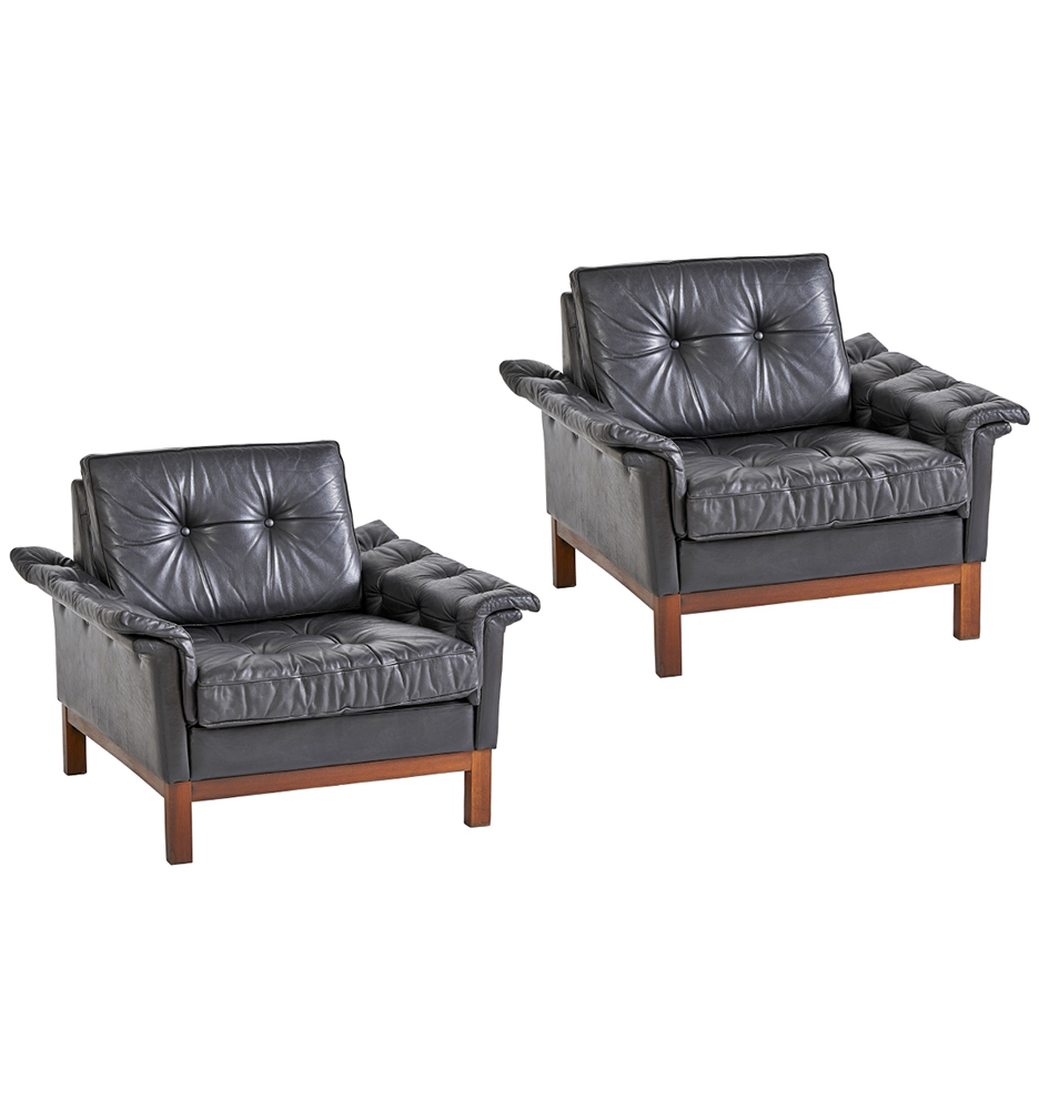 Pair of Rare Ikea Modern Lounge Chairs in Black Leather