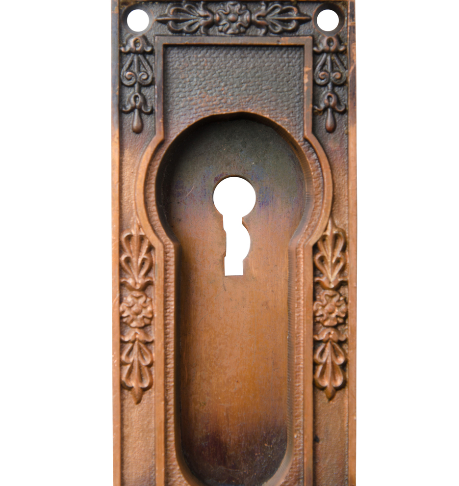Incredible Cast Pocket Door Pulls W Japanned Copper Finish