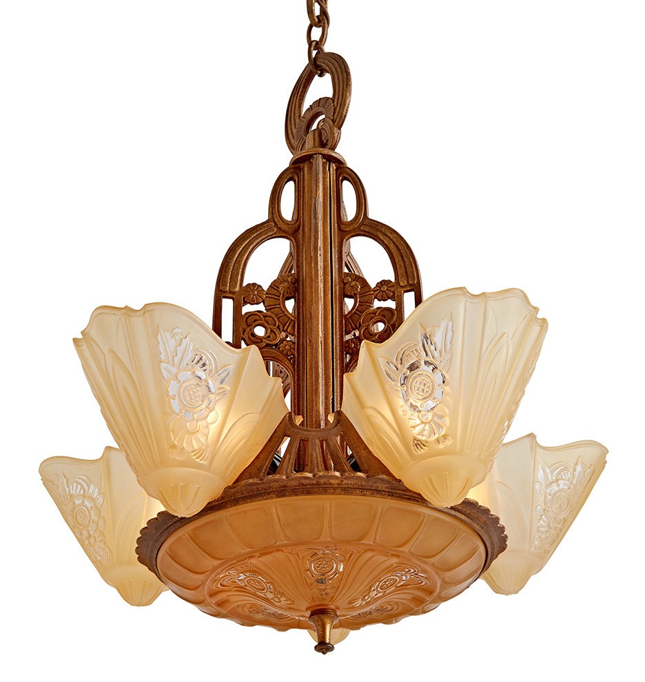 Art Deco Slipper Shade Chandelier By Lightolier R0620 C1 Wk52 180123 101