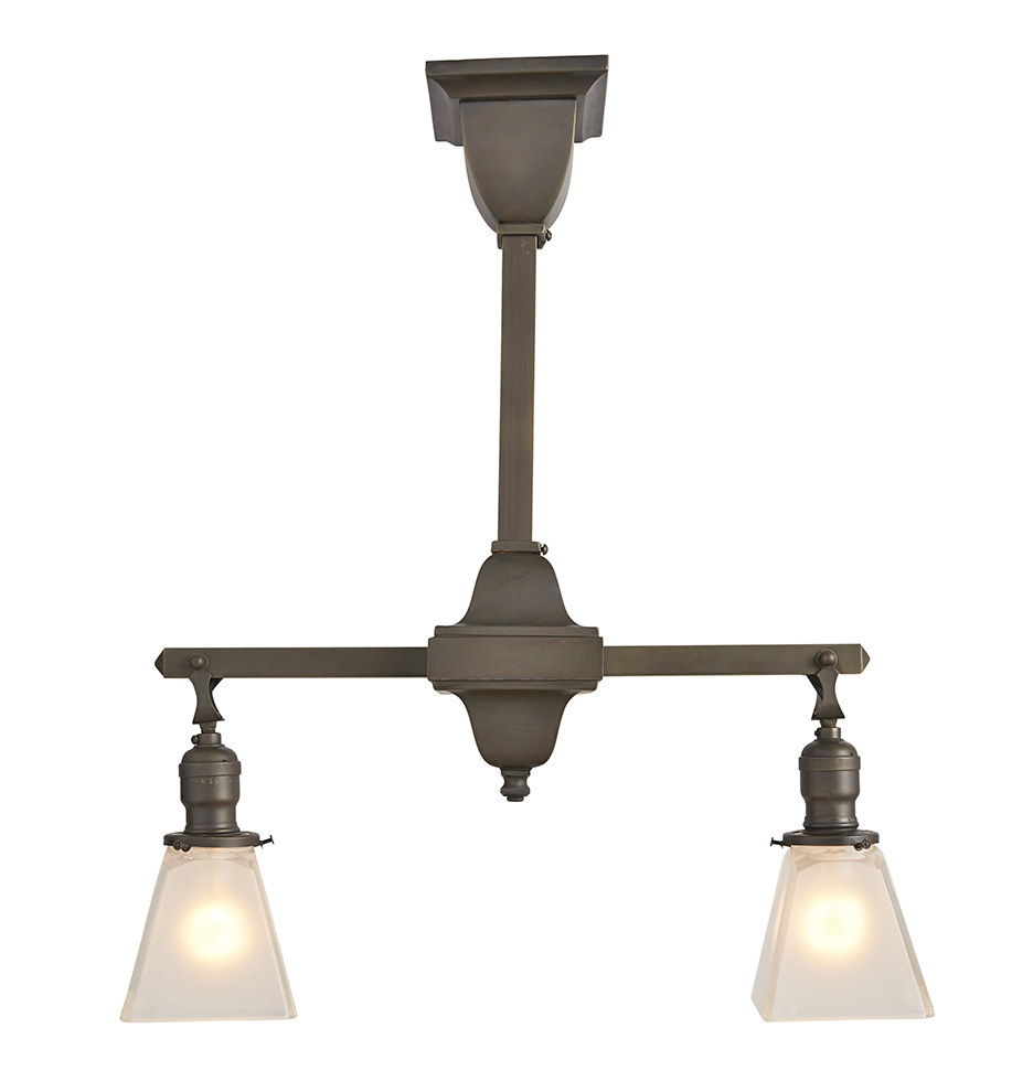 Essential mission style 2 light chandelier