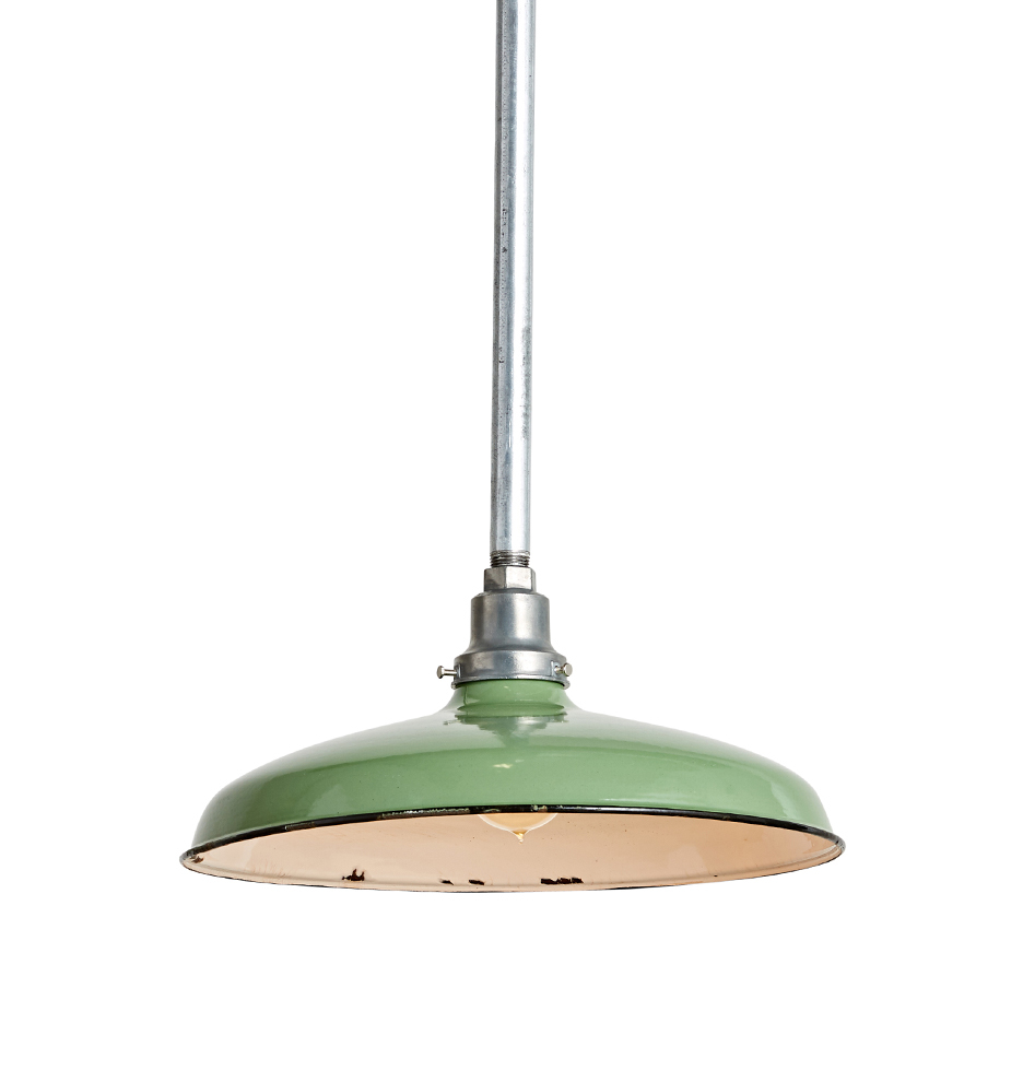 A gorgeous industrial farmhouse pendant light for your kitchen with a light green shade. #industrialfarmhouse #pendant #lighting
