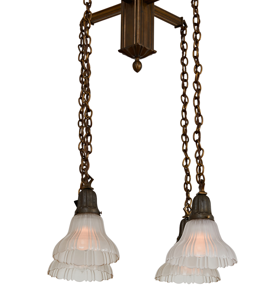 Sheffield Pattern  Shade on Brass Flush Mount Ceiling Light Fixture