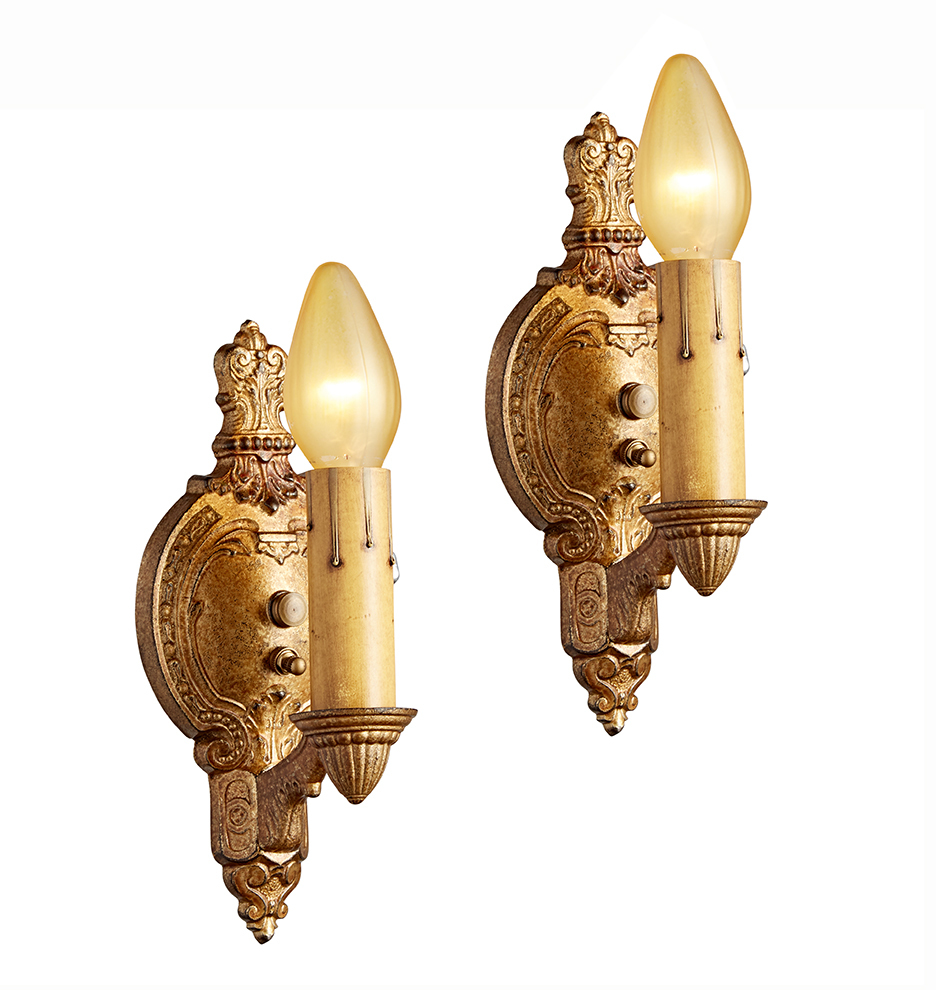 Pair of romance revival wall sconces w original gold finish