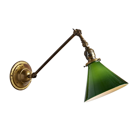 Brass Wall Light By Faries W/ Cased Green Cone Shade
