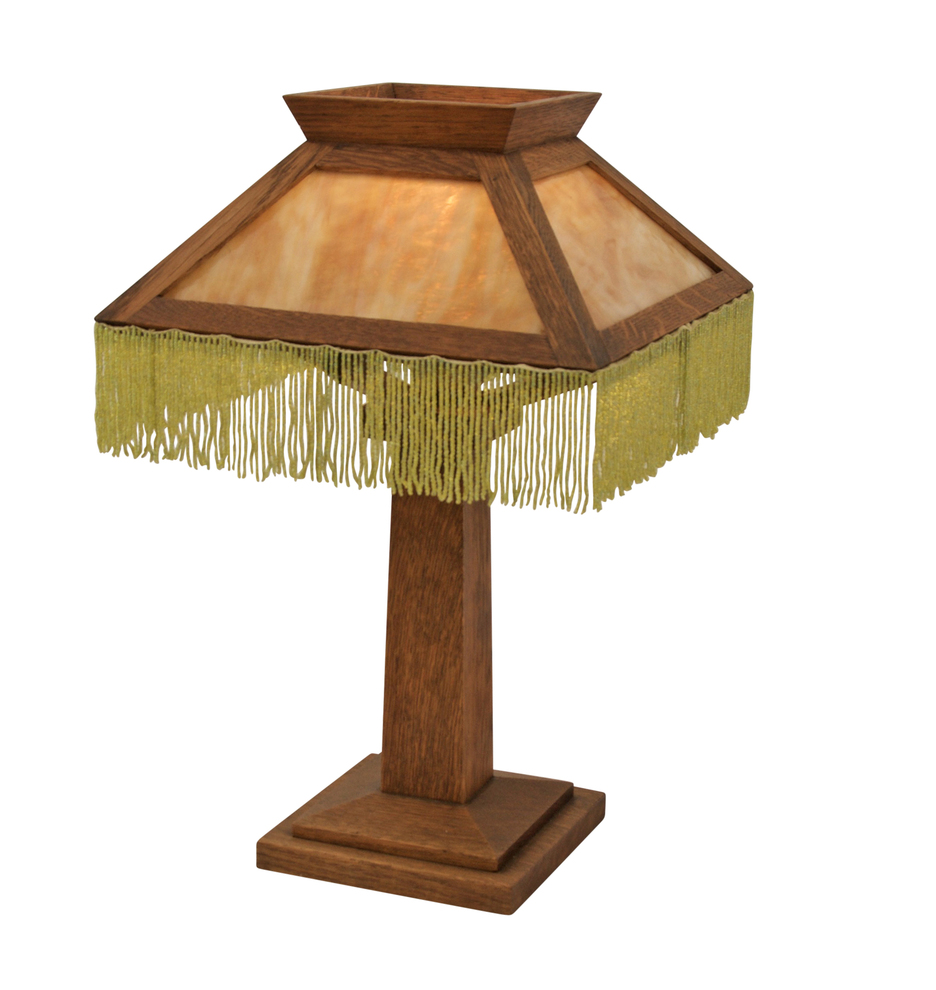 Mission style table lamp w slag glass and beaded fringe r2558 geotapseo Images