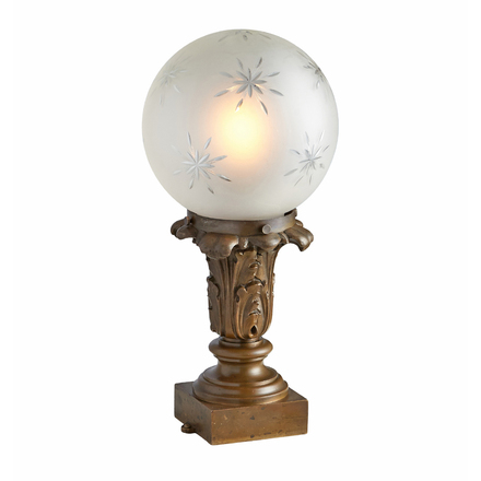 classical revival newel post lamp w wheel cut globe - Antique Lamp