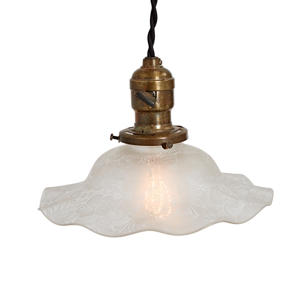 Antique lighting vintage pendant lighting rejuvenation industrial cord pendant w etched ruffled shade aloadofball Image collections