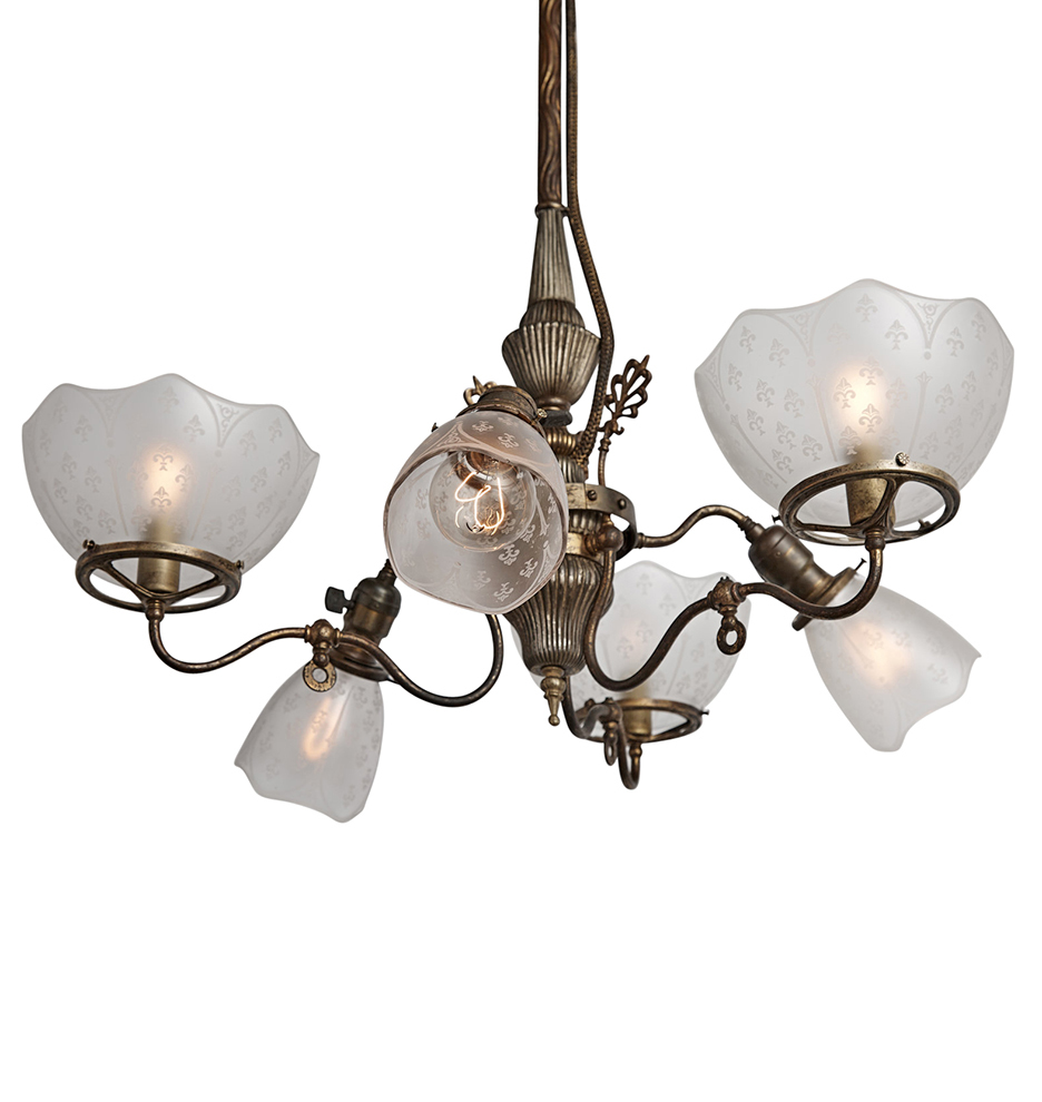 Early very rare converted gas electric 6 light chandelier r4197 170518 408 r4197 arubaitofo Images