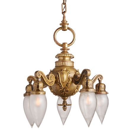 Antiques vintage ornate 5 light chandelier w french etched stalactite shades