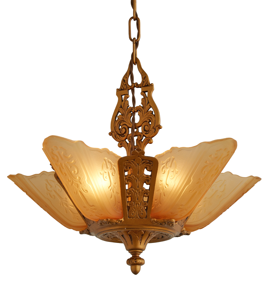 Five light slipper shade chandelier w amber shades rejuvenation slipper shade chandelier w amber shades r4779 wk46 c1 171215 035 r4779 arubaitofo Image collections