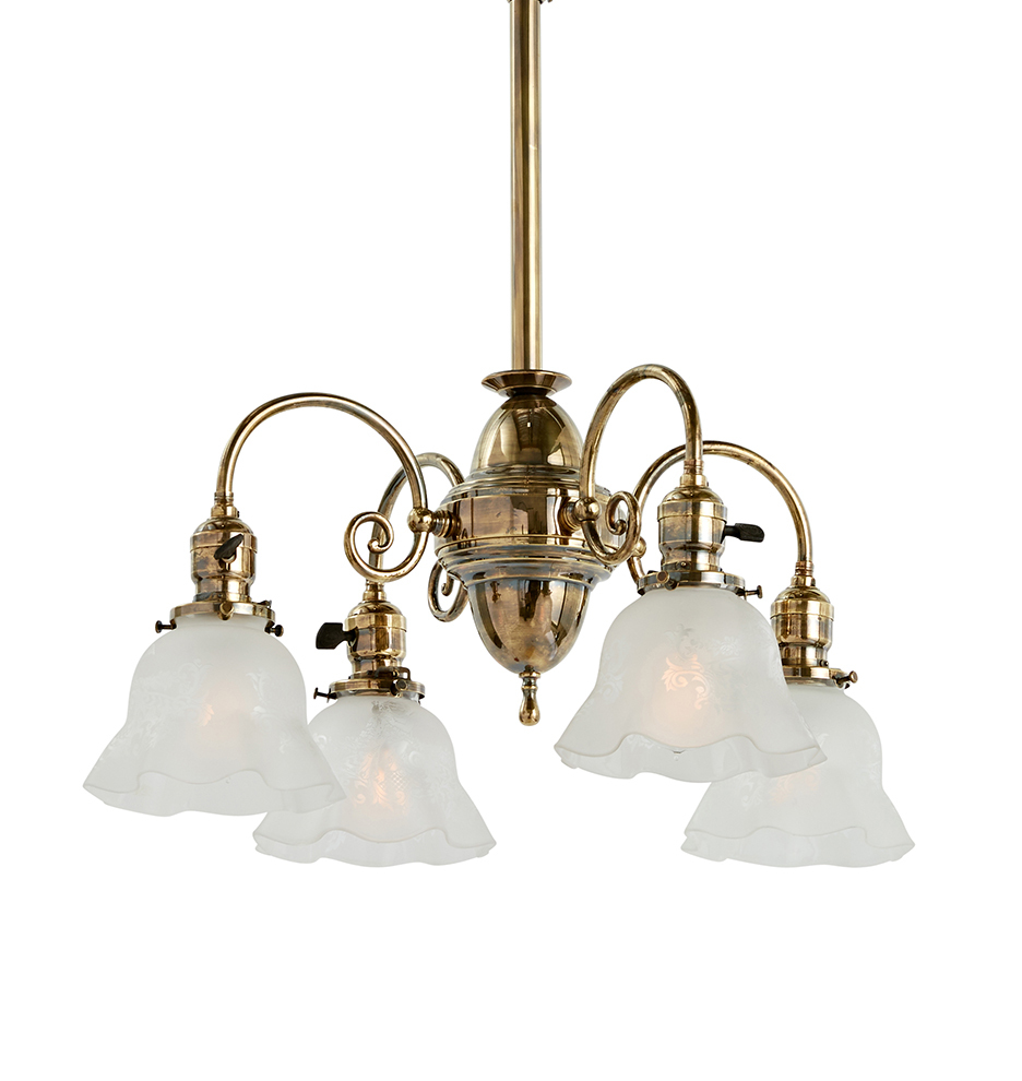 Four Light Victorian Chandelier In Aged Brass W Etched Shades