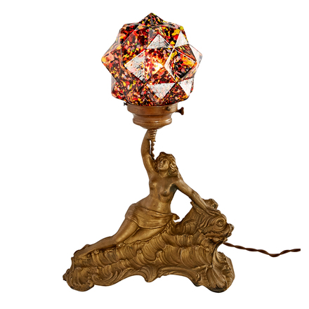 figural table lamp w millefiore star shade - Antique Lamp