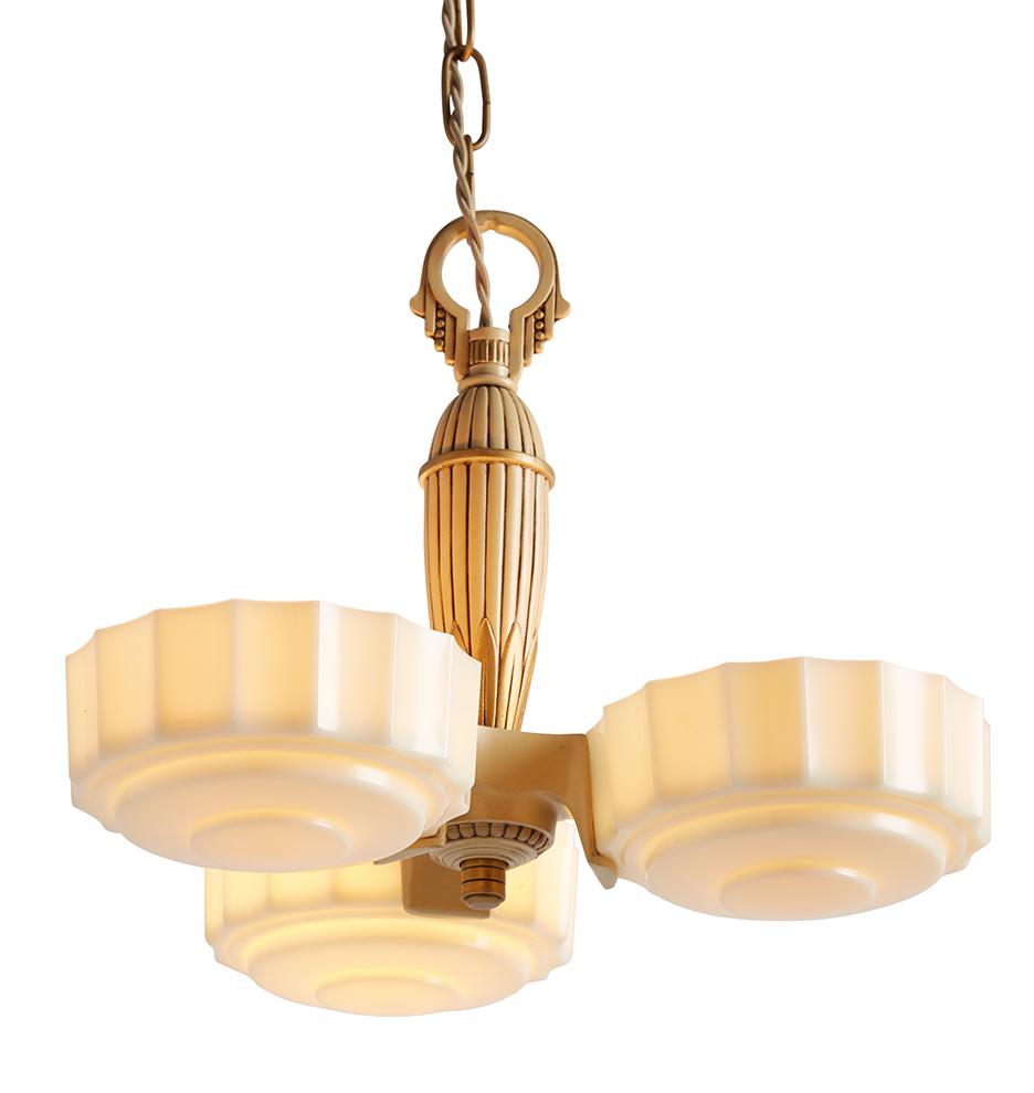 Three light art deco slipper shade chandelier rejuvenation save up to 30 arubaitofo Choice Image
