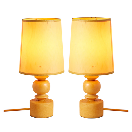 Pair Of Orange Alabaster Accent Lamps W/ Silk Shades