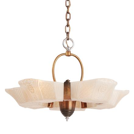 Antique chandeliers vintage chandeliers rejuvenation streamline 5 light slipper shade chandelier w japanned copper mozeypictures Gallery