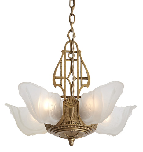 5-Light Slipper Chandelier w/ Etched Shades by Markel
