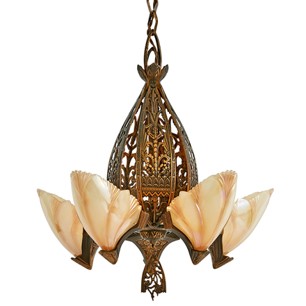 5 light batwing art deco chandelier w original finish
