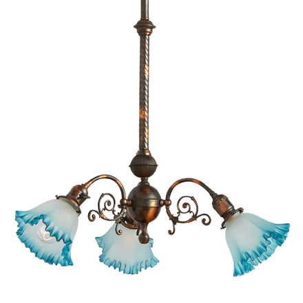 Antique chandeliers vintage chandeliers rejuvenation three light victorian copper chandelier w blue ruffled shades aloadofball Choice Image