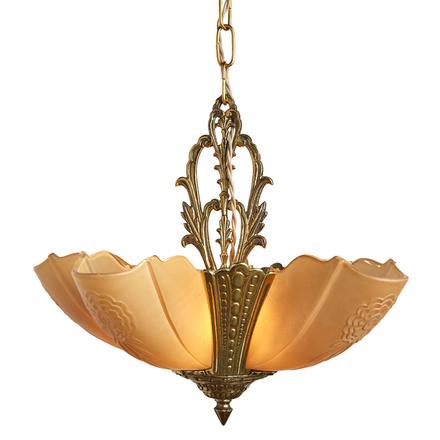 Antique chandeliers vintage chandeliers rejuvenation cast brass 5 light slipper shade chandelier by frankelite aloadofball Image collections