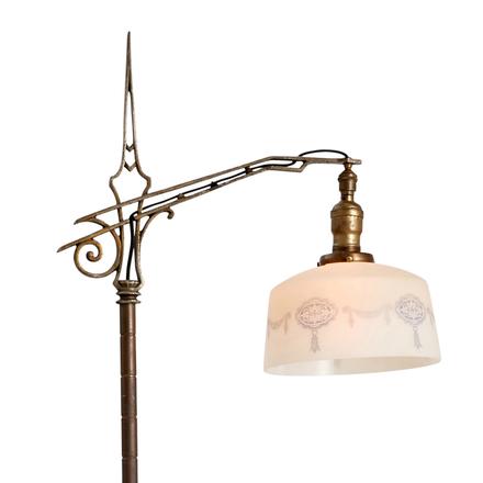 revival bridge lamp w deco spearhead - Antique Lamp