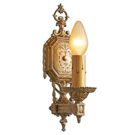 Single Romance Revival Sconce W/ Original Polychrome